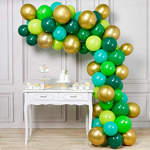PartyWoo Green Balloons 70 pcs 12 inch Lime Dark Hunter Assorted and Gold for Birthday Decorations