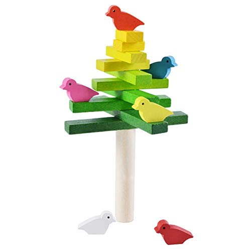 Aland Wooden Balance Stacking Game Colorful Bird Building Blocks Educational Kids Toy Birds Stacked high Piled up Toys