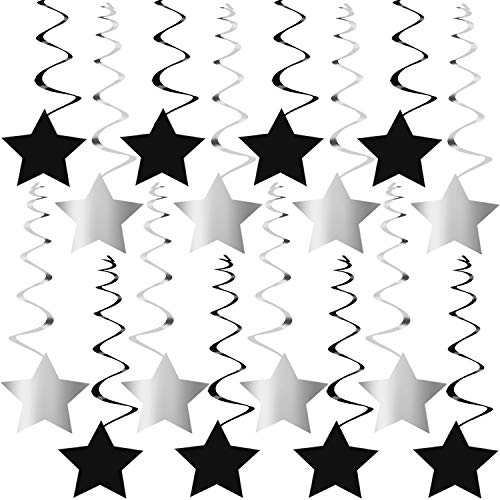 Black and Silver Hanging Star Swirls – No DIY Required Graduation Decorations Party Supplies Hollywood Retirement 30th 40th 50th 60th 70th 80th 90th Birthday