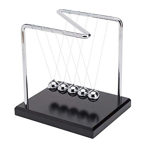 Z-Shape Newtons Cradle Balance Balls with Wooden Base Science Physics Puzzle Desk Fun Gadgets Kinetic Motion Toy for Home and Office Top Decoration