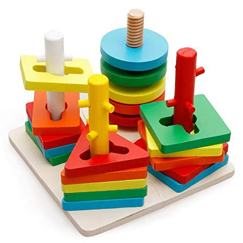chinatera Wooden Educational Shape Color Recognition Geometric Board Block Stack Sort Puzzle Toys