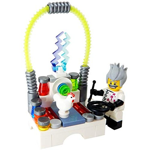 LEGO Mad Scientist with Laboratory Zapping Chicken – Custom Science Lab Minifigure