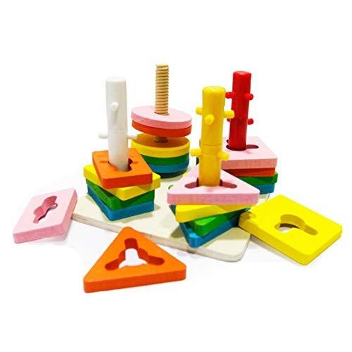 Finetoknow Children Toys Building Blocks Wooden Geometric Sorting Board Block Kids Early Educational Toy Gifts