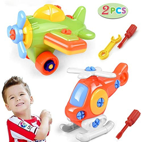 Geenber Take Apart Toys Airplane Toy Learning Educational Construction Tool Engineering Set for Boys & Girls Ages 3456 Best STEM Gift B
