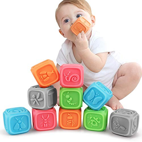 TUMAMA Baby BlocksSoft Building Blocks for ToddlersTeething Chewing Toys Educational Bath Play with Numbers Shapes Animals Letter& Insect 0-3 Years