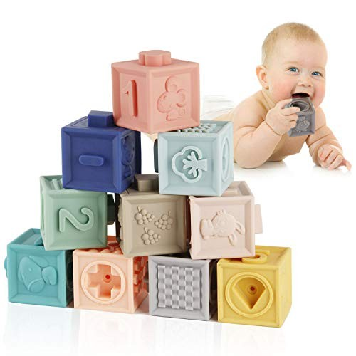 Mini Tudou Baby Blocks Soft Building Toys Teethers Toy Educational Squeeze Play with Numbers Animals Shapes Textures 6 Months and Up 12PCS
