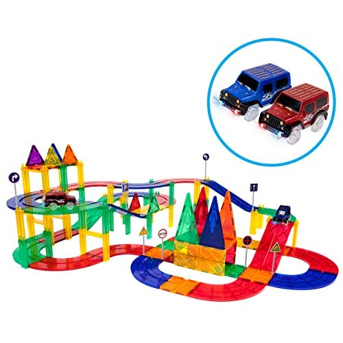 PicassoTiles 80 Piece Race Car Track Building Block Educational Toy Set Magnetic Tiles Magnet DIY Playset 2 Light Up STEM Learning Construction Kit Hand-Eye Coordination Fine Motor Skill Training