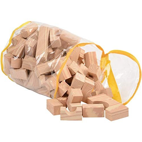 Constructive Playthings Wood-Look High Density Foam Building Blocks 100 pc Set in 13 Shapes with Storage Bag for Ages 3 Years and Up
