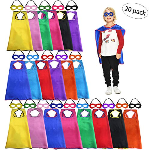 Kids Super Hero Capes Bulk with Masks for Superhero Party Supplies