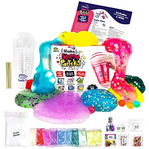 No Glue Shake Slime Kit for Girls and Boys 10 Kinds of Shaker Mess Just Add Water Mix Includes Fun Toppings Take-Home Storage Cups