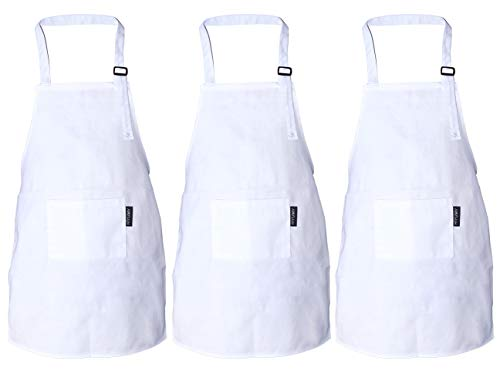 HIYUMY 3 Pieces Kid's Apron Adjustable Cotton Child Bib with 2 Pockets Kitchen Chef Painting Aprons for Cooking Art or Craft Projects White