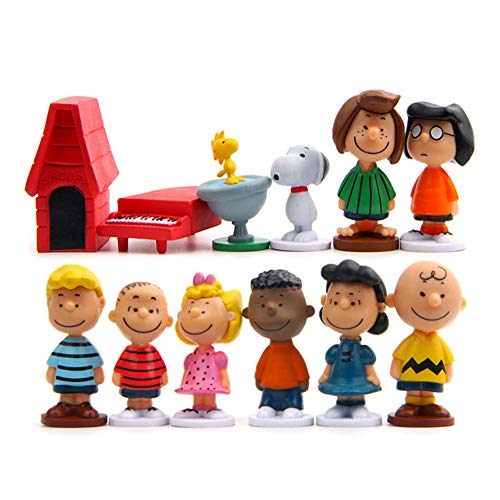 Peanuts Movie Classic Characters Toy Figure Collectible Figurines Cake Toppers Set of 12 with Snoopy Woodstock Dog House Linus Charlie and More Party Decorations