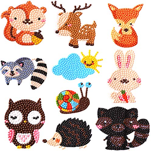 5D DIY Diamond Painting Kits for Kids Art Mosaic Stickers by Numbers Kits- Animal Stickersr