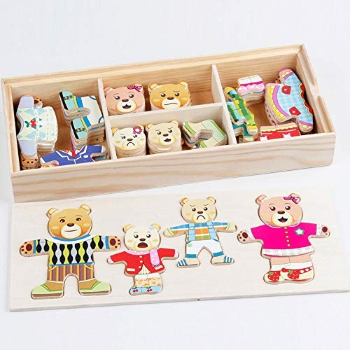 YRE Cubs Change DIY Collage Game Toys Wooden Four Dressing Clothes Building Blocks Baby Puzzle Early Teaching Children Creative
