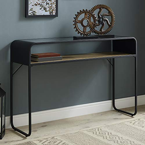 Walker Edison Furniture Company Curved Metal Frame Rectangle Accent Coffee Table Living Room Ottoman Storage Shelf Reclaimed Barnwood
