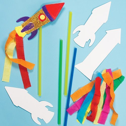 Card Rocket Wand Kits 3 Assorted for Kid's to Make & Decorate Bonfire Night Pack of 6