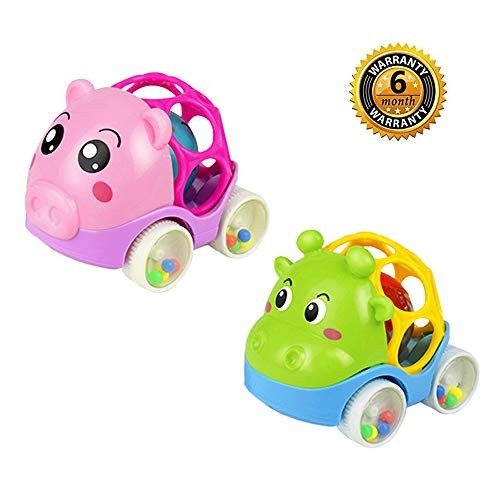 ZHFUYS Rattle & Roll Car2 Pack Soft Rubber Rattle car 45 inch Cute Infant