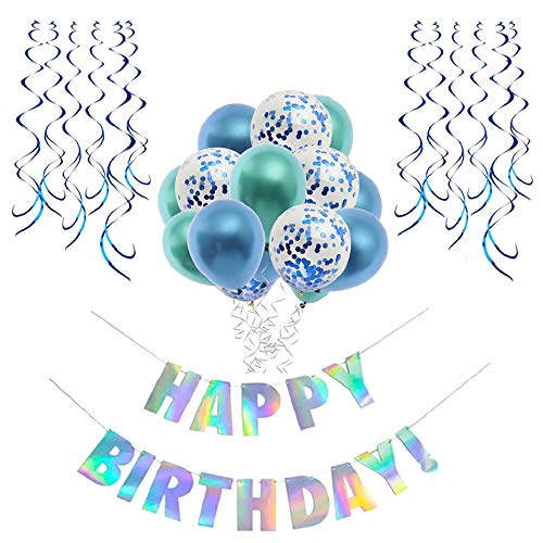 Blue Birthday DecorationsBirthday Party Supplies Kit for Boy and GirlHappy BannerConfetti BalloonsHanging Swirls16th 18th 21st 30th DecorationBalloons in Green