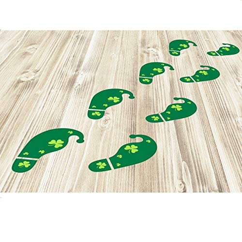Bememo 54 Count Leprechaun Footprints Halloween St Patrick's Day Decorations Floor Decals Stickers for Shamrock Party Home Office Store Green