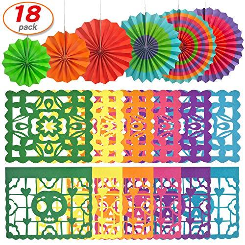 18 Pcs Paper Fan Mexican Fiesta 6 Cinco De Mayo 12 Papel Picado Dead Banner For Carnival Party Decoration
