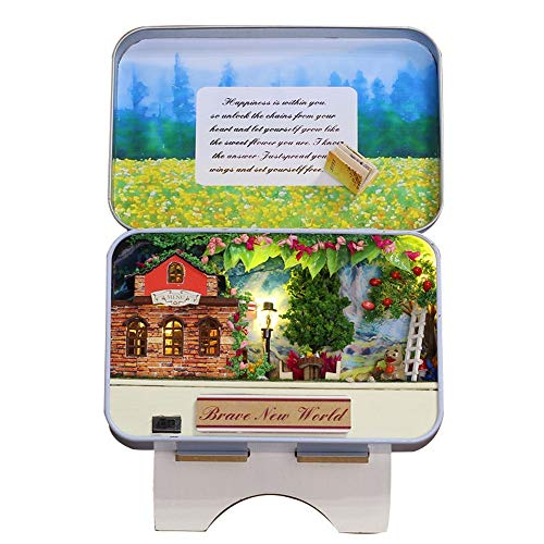 Tronet DIY Dollhouse Wooden 3D Miniature House Furniture LED Box Theatre Decorate Creative Gifts Best Birthday