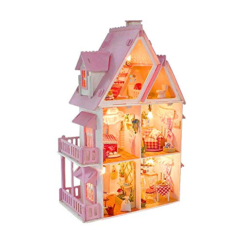 Tronet DIY Dollhouse Wooden 3D Miniature House Furniture LED Puzzle Decorate Creative Gifts