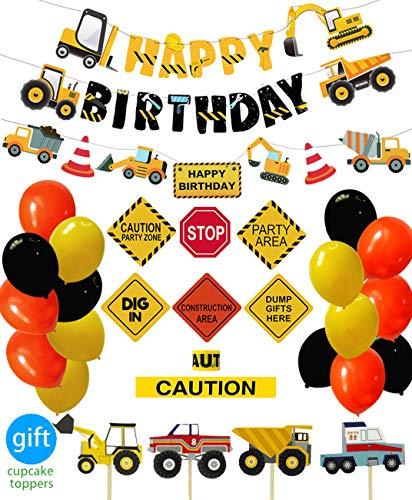 ConstructionBirthdayPartySupplies Dump Truck Party Decorations Kits Set for KidsBirthday 51 pack