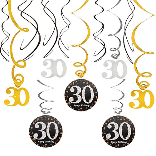 30 Birthday Swirls Foil Streamers Happy 30th Cheers to Thirty Years Old Party Decoration Supplies