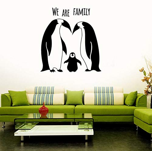 Dalxsh Penguins Family Vinyl Wall Decal Cute Room Decor Animal Stickers for Kids Rooms Self Adhesive Nursery Decorate 42x44cm