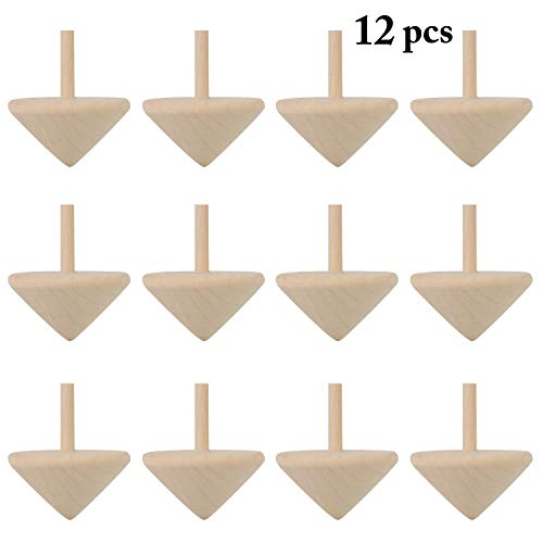 B bangcool Wooden Spinning Top Toys Wood Spin Up Toy for Party Favors 12Pcs