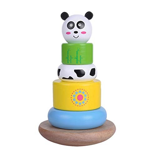 YeahiBaby Wooden Rainbow Stacking Game Building Blocks Tower Educational Toys for Kids Children Panda Pattern