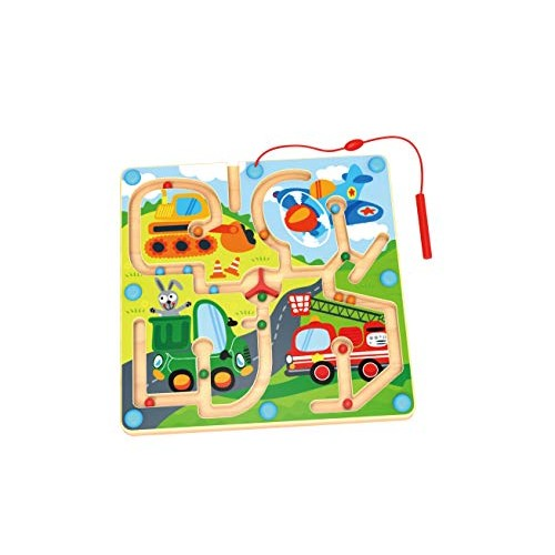 2 in1 Board Game-Puzzle with Magnetic Ball and Ludo Game for Toddler Maze Magnetic Puzzle Toy for Kids Car and Plane Best Travel Games STEM Toy Developmental Activity Encourages Fine Motor Skills