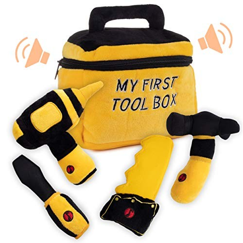 Toy Tool Set for Boys Includes Cuddly Hammer Handsaw Screwdriver Hand Drill & Zippered Box with Cool Sounds Soft Plush Toys Made from Durable Hypoallergenic Fabric