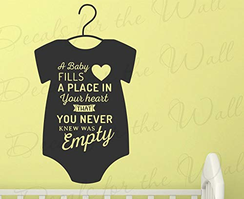 Art Design Vinyl Decals for A Baby Fills Place in Your Heart That You Never Knew was Empty – Nursery Mother Child Father Love Family Kid Boy Girl Decorati KMTx1B