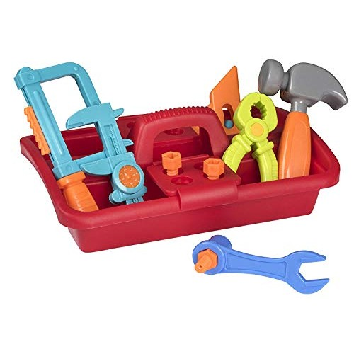 Playkidz 23 Piece Tool Box Set Great Construction Toys for Boys and Girls Assortment of Different Super Durable Tools Nails Screws A Storage Caddy