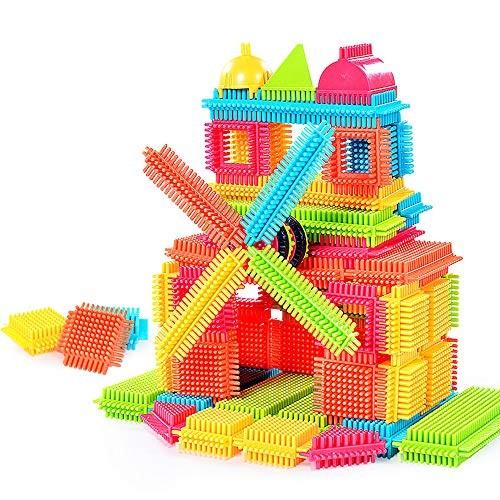 3D Building Blocks Sacow Toddlers Kids150pcs Bristle Shape Toy Playboards