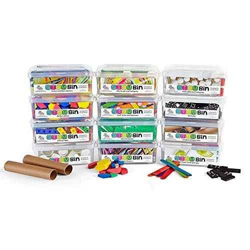 hand2mind STEM Bins Kit by Brooke Brown for Kids Ages 5-10 19 Different Manipulatives 8 Challenge Yourself Cards Writing and Teacher Guide Homeschool Supplies Set of 12 Bins