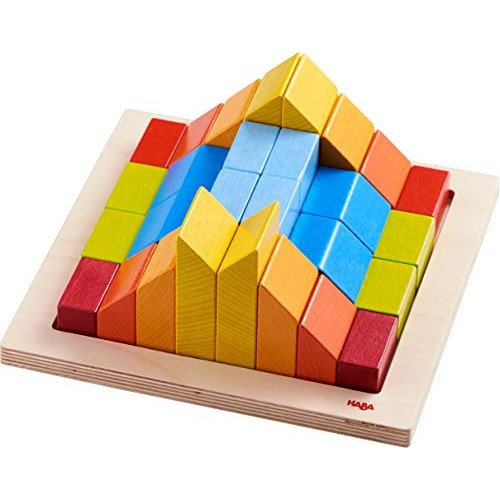 HABA 3D Arranging Game Creative Stones with 28 Wooden Blocks and 15 Double Sided Template Cards 3 Degrees of Difficulty for Ages 2-6 Made in Germany