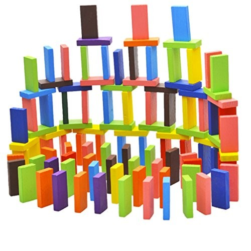 Flameer 120-piece 10-Color Natural Wooden Domino Blocks Set Racing Tile Game Building & Stacking Toy xmas Gift