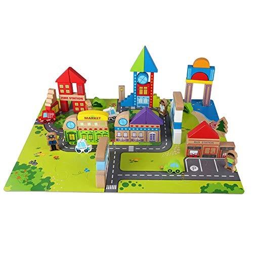 Qi Peng Building Blocks Toys – Children's Puzzle 135 Pieces Urban Scenario Blocks Children's Birthday Gifts Assembling Wooden Block