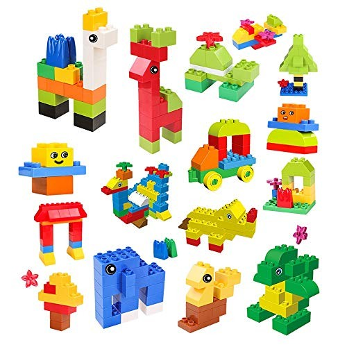 Qi Peng Children's Large Particles Plastic Spell Insert Toys Puzzle Building Blocks Toys 3-6 Years Old 210 Tablets + Send Bottom Plate Stickers Wooden Block