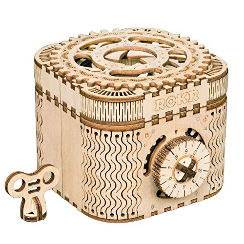 RoWood Mechanical Gear Treasure Box – 3D Wooden Puzzle Craft Toy Brain Teaser DIY Model Building Kits Gift for Adults & Teens Age 14+