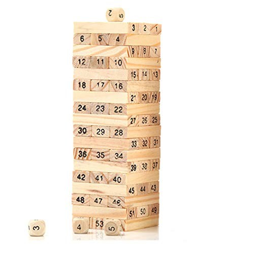 A-cool 48Pcs Wooden Tower Toy Stacker Extract Building Educational Kid Baby Stacking Stack Up Learning Education Kids