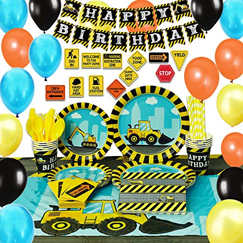 WERNNSAI Construction Party Supplies Set – Dump Truck Decorations for Boys Kids Birthday Banner Balloons Signs Cutlery Bag Table Cover Plates Cups Napkins Straws Utensils 16 Guests 181 PCS
