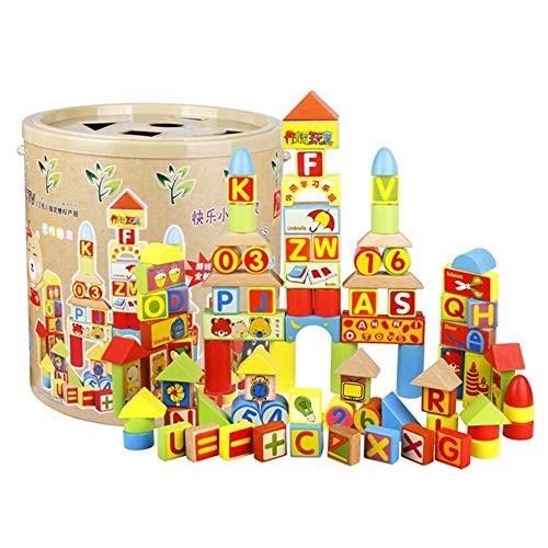 FLYSxP Children's Educational Wooden Toys 100PCS Happy Little Bears One Building Blocks