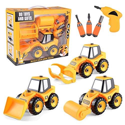 Take Apart Toys Set – Construction Trucks Bulldozer with 3 attachments Stem Learning Educational Build It Yourself Battery Powered Drill Tool Engineering