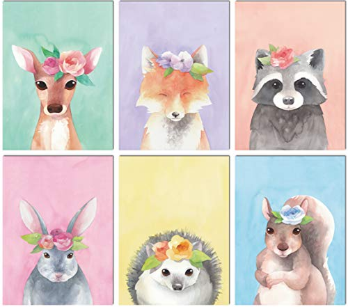 L & O Goods Woodland Animals Nursery Dcor Baby Boy Girl Wall Art Watercolor Prints Set of 6 Posters for Bedroom Decoration Cute Kids 8 x 10s