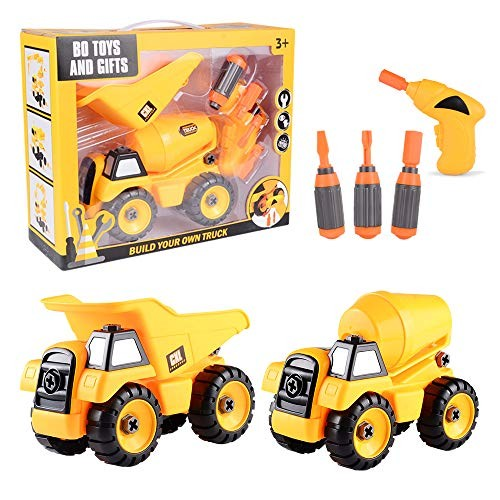Take Apart Toys Set – Construction Trucks Dump Truck Cement Stem Learning Educational Build It Yourself with Battery Powered Drill Tool Engineering