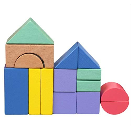 LZIYAN Bright Color Building Blocks Different Shapes Wooden Toy Set Developmental Gift For Girls And Boys