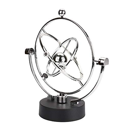 Dartphew Physics Science Toy Electronic Perpetual Motion Desk Revolving Balance Balls Kinetic Art Globe Pendulum for Office Home Ornaments